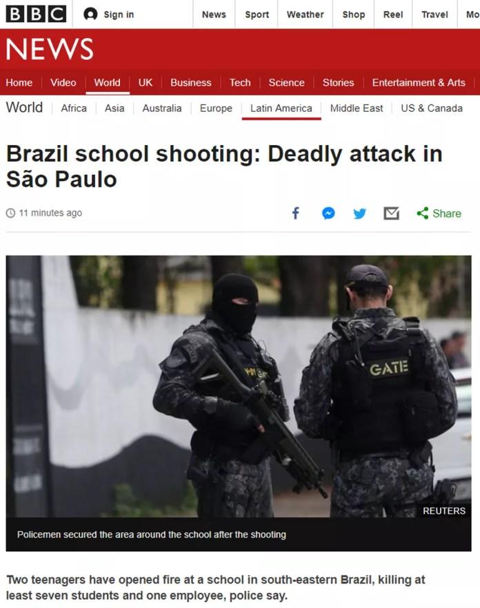 Massacre em Suzano virou notícia na britânica BBC — Foto: Reprodução/BBC