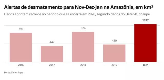Análise de alertas do trimestre de novembro a janeiro confirmam recorde de devastação na Amazônia — Foto: Elida Oliveira/G1