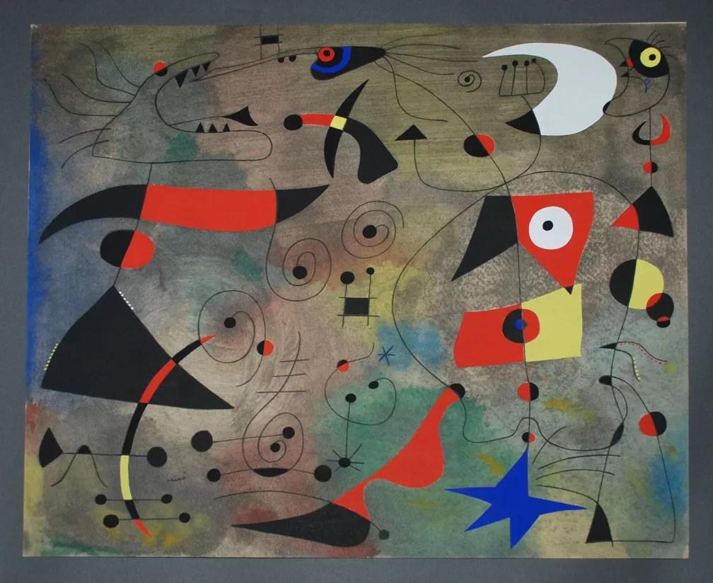 Obra 'Femme et oiseaux' de Joan Miró  (Foto: Divulgação/Sothebys)