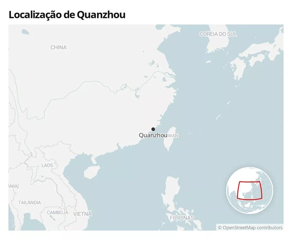 Mapa mostra a localização de Quanzhou, no sudeste da China — Foto:  G1