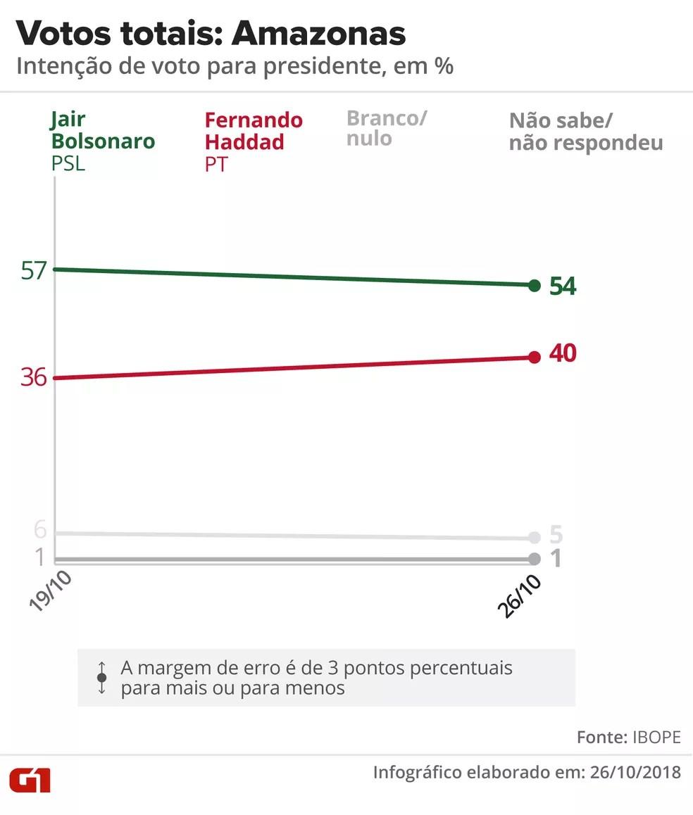 Pesquisa Ibope - 2º turno - Amazonas - votos totais no estado — Foto: Arte/G1
