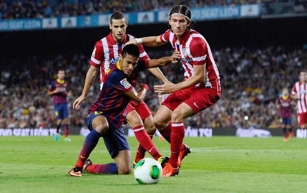 Neymar Mario Suarez Filipe Luis  barcelona x atletico madri  (Foto: Getty Images)