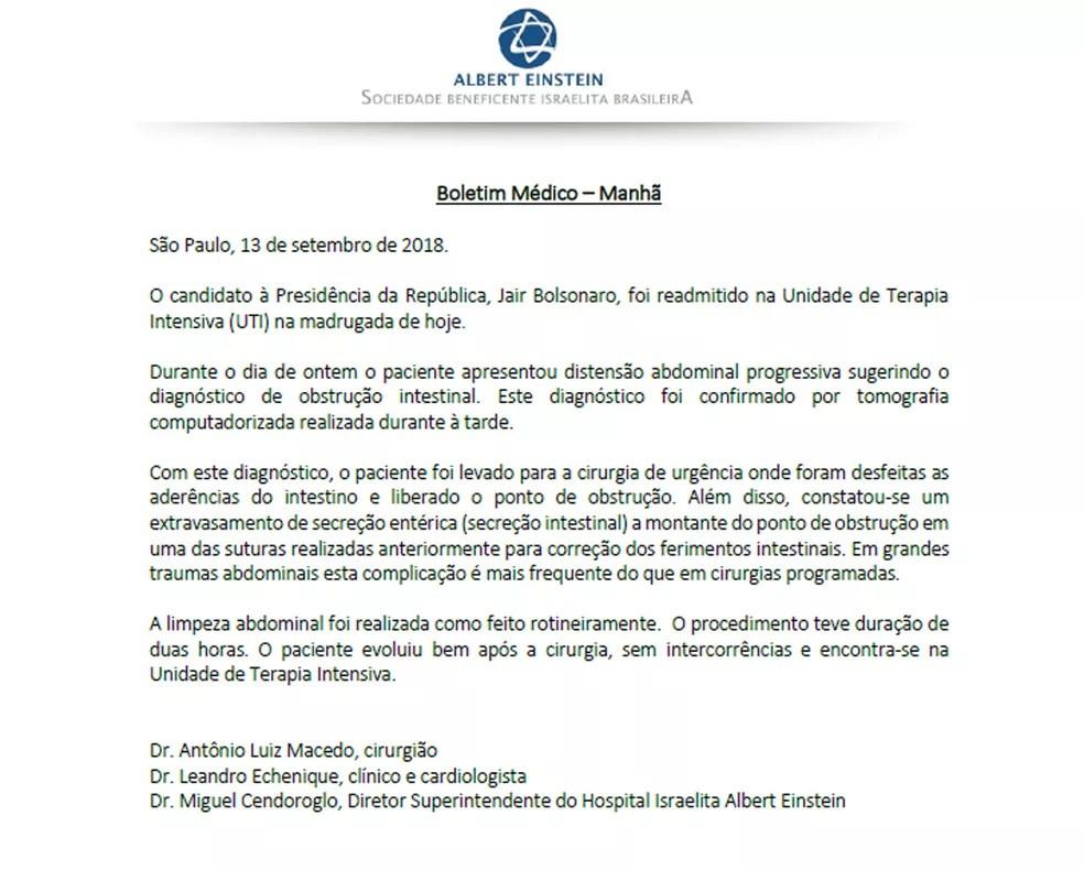 Novo boletim médico do candidato Jair Bolsonaro — Foto: Reprodução