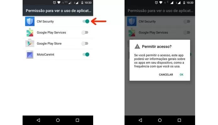 Permissão para o CM Security ver o uso de apps no Android (Foto: Reprodução/Raquel Freire)