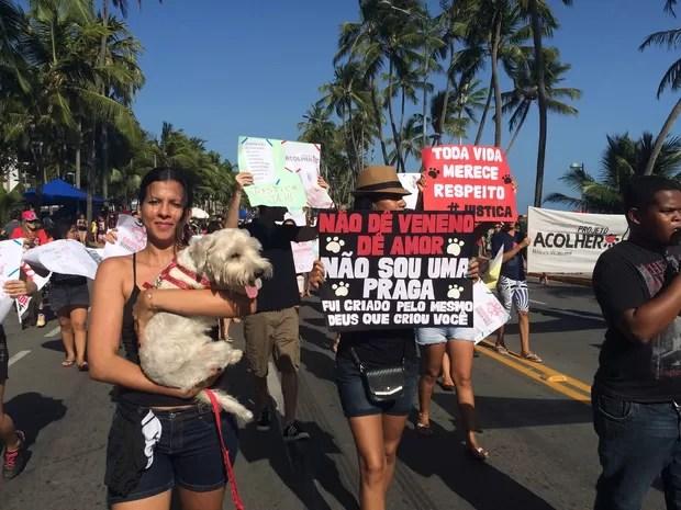 Com faixa e bichos, grupo foi à Orla de Maceió em protestar contra envenenamento de cães (Foto: Carolina Sanches/G1)