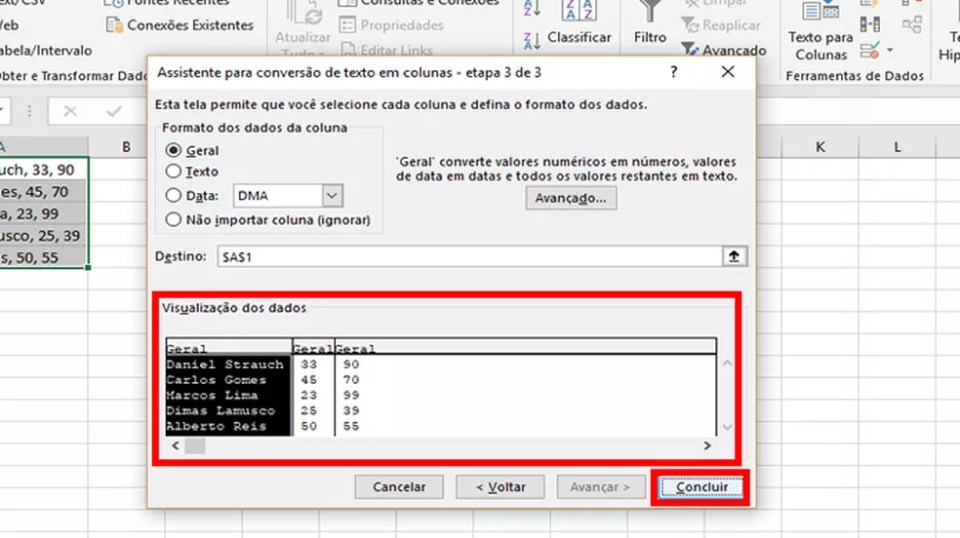 """Confirme a transformação de texto em colunas no Excel ao clicar em """"Concluir"""" (Foto: Reprodução/Daniel Ribeiro)"""