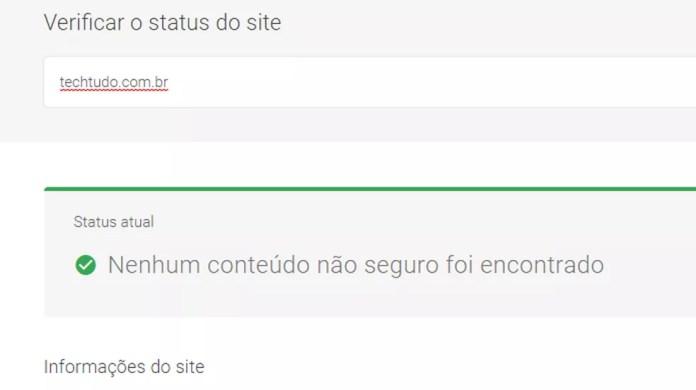 Ferramenta do Google mostra se site pode ser perigoso — Foto: Reprodução/Paulo Alves