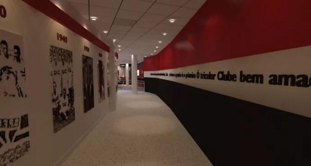 Imagem mostra como ficará o corredor onde ficarão localizados os vestiários e as salas de imprensa (Foto: GloboEsporte.com)
