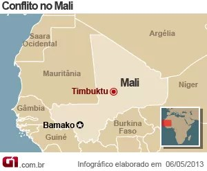 mapa mali (Foto: Arte G1)