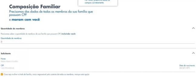 Página seguinte para cadastro no programa de auxílio emergencial no site da Caixa — Foto: Reprodução