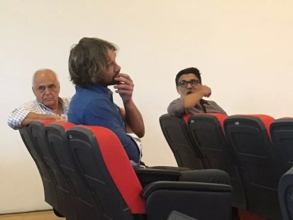 Leco, Lugano e Ricardo Rocha acompanham a entrevista de Raí (Foto: Fernando Vidotto)