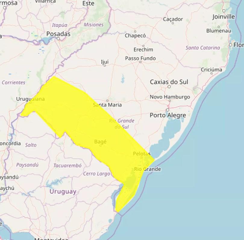Inmet alerta para chances de tempestade na região que vai da Campanha ao Sul do RS — Foto: Reprodução/Inmet