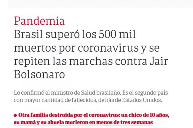 """""""Brasil superou os 500 mil mortos por coronavírus e manifestantes repetem marcha contra Jair Bolsonaro"""", diz o título de reportagem do jornal argentino El Clarín. — Foto: Reprodução."""