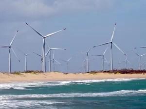 Aerogeradores de energia eólica em São Miguel do Gostoso (RN). (Foto: Felipe Gibson/G1)