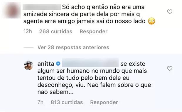 Anitta rebate fã que questionou unfollow em Nego do Borel (Foto: Reprodução / Instagram)