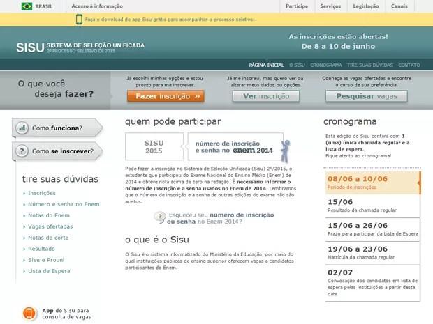 Sisu do meio do ano abre inscrições para 55,6 mil vagas (Foto: Reprodução/sisu.mec.gov.br)
