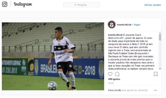 Ceará, atacante do Treze (Foto: Reprodução / Instagram)