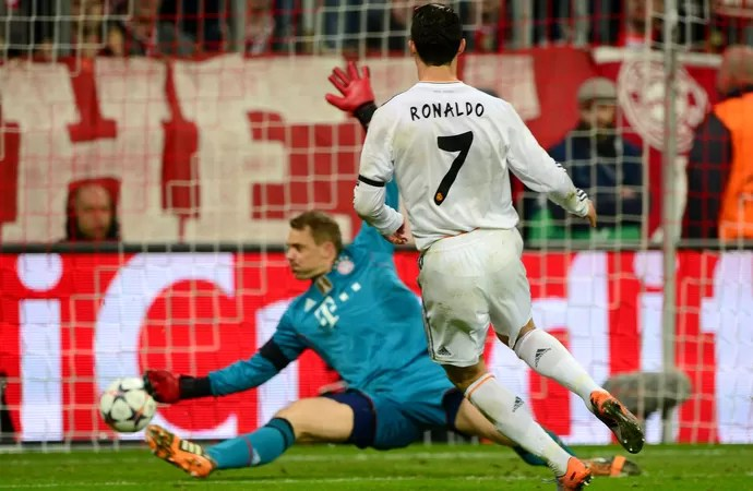 Cristiano Ronaldo Bayern de Munique x Real Madrid (Foto: AFP)