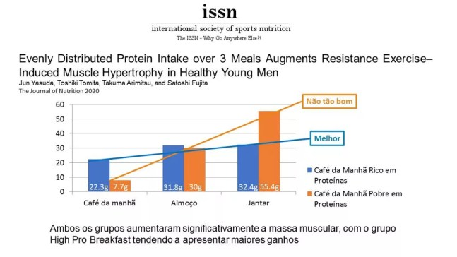 Distribuição de proteínas ao longo do dia — Foto: ISSN Brasil
