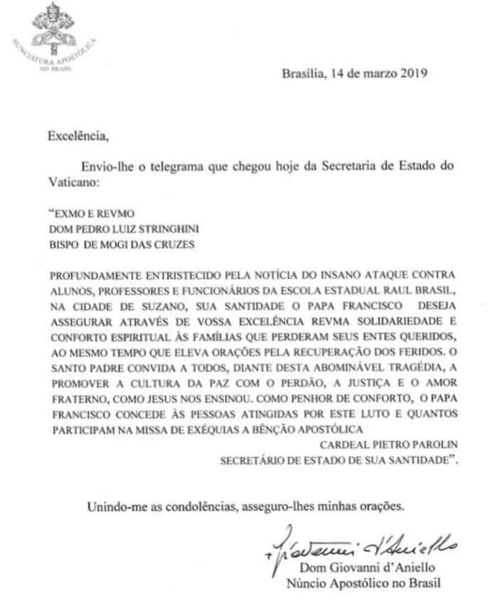 Mensagem de solidariedade do papa Francisco a vítimas, famílias e funcionários do massacre em Suzano — Foto: Diocese de Mogi/Reprodução