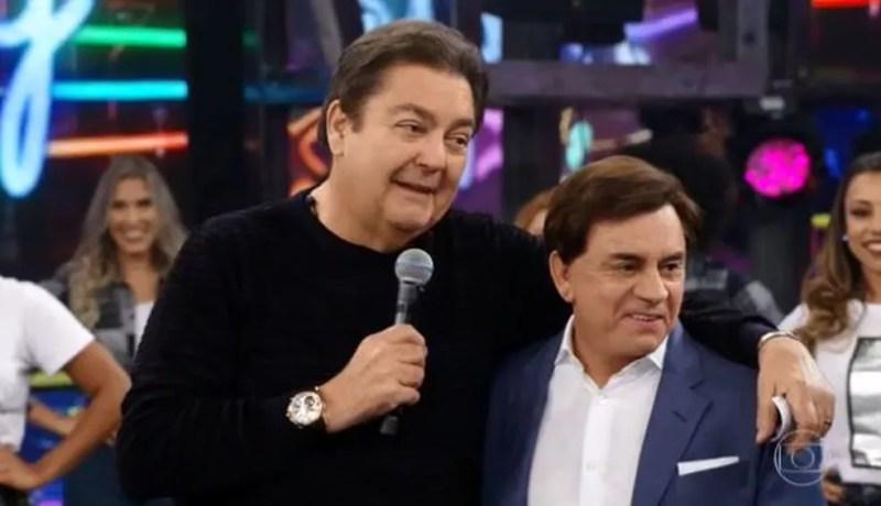 Faustão relembra histórias com o grupo 'Amigos' durante o 'Domingão do Faustão' — Foto: Globo