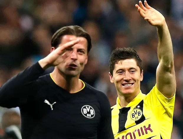 Robert Lewandowski Roman Weidenfeller comemoração Borussia Dortmund Real Madrid (Foto: Reuters)