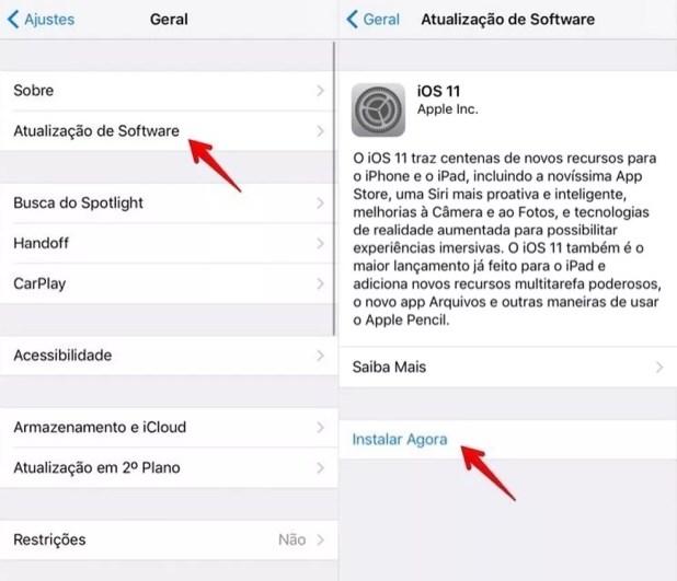 Instalando o iOS 11 (Foto: Reprodução/Helito Bijora)