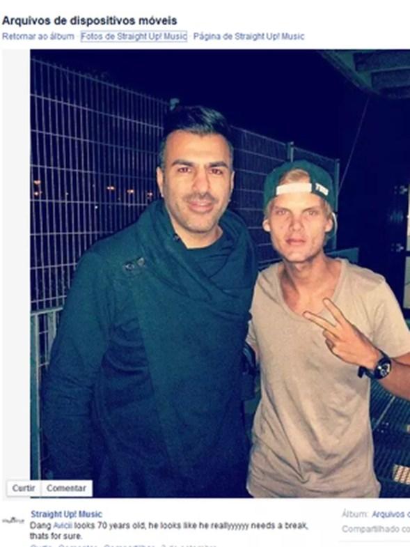 Foto com Avicii divulgada pela gravadora Straight up music! em 2014, que deixou os fãs preocupados (Foto: Reprodução/Facebook)