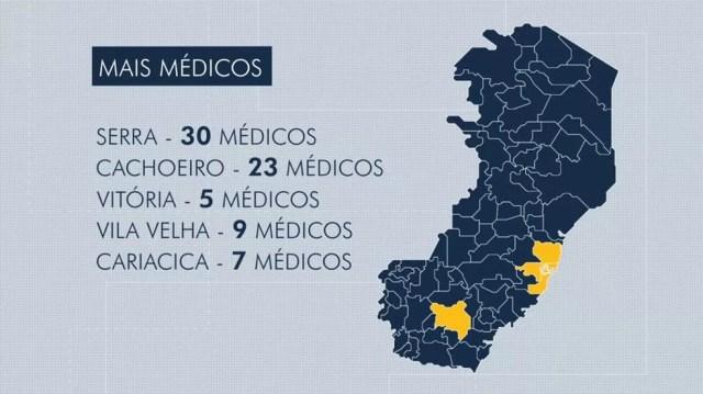 Municípios capixabas que mais receberam médicos cubanos — Foto: Reprodução/TV Gazeta