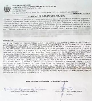 Boletim de ocorrência foi registrado pelo repórter após ser vítima de boato em Monteiro — Foto: Reprodução