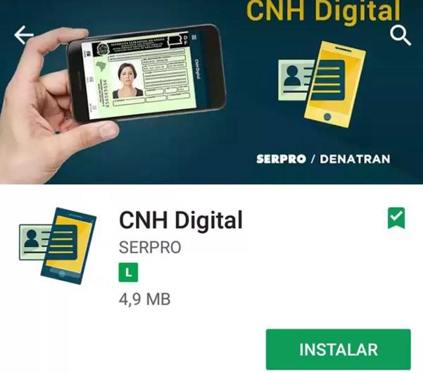 Aplicativo da CNH tem o nome do Serpro, que desenvolveu o sistema (Foto: Reprodução)