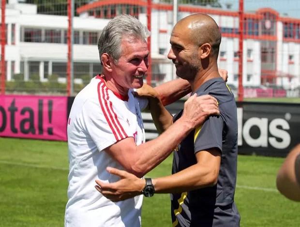 Pep Guardiola e Jupp heynckes no treino (Foto: Reprodução)