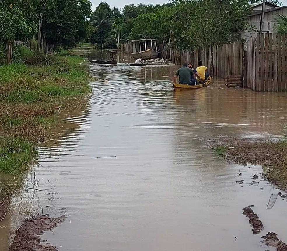 Santa Rosa do Purus é afetada por uma nova enchente — Foto: Asscom/Prefeitura
