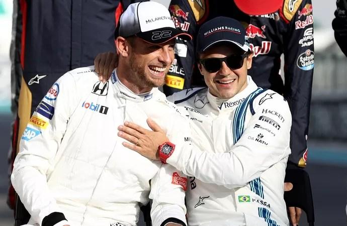 Jenson Button e Felipe Massa se aposentaram da Fórmula 1 no GP de Abu Dhabi deste domingo (Foto: Getty Images)