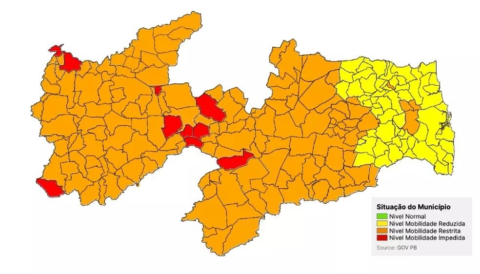 Número de cidades da Paraíba na bandeira laranja passa de 14 para 153 do Plano Novo Normal — Foto: Divulgação/SES