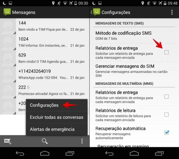 Ativando relatório de entrega no aplicativo de SMS do Android (Foto: Reprodução/Helito Bijora)