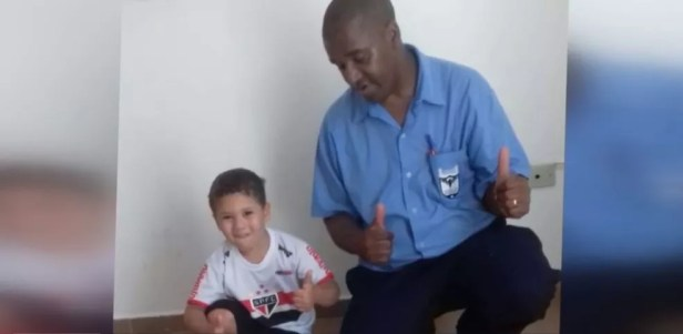Murilo e Evaldo antes de um jogo do São Paulo, no começo deste ano — Foto: Reprodução/EPTV