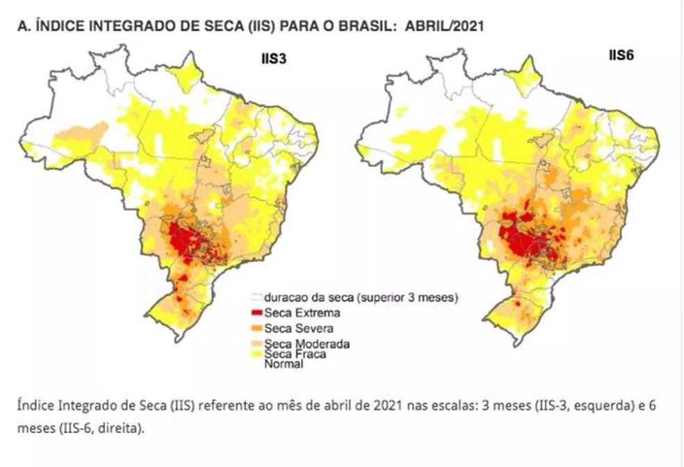 Último relatório do Cemaden mostra seca extrema no Centro-Sul — Foto: Divulgação