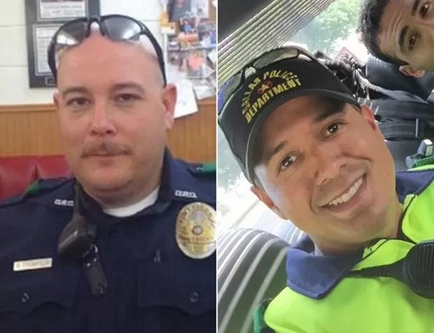 Brent Thompson, de 43 anos, à esquerda, e Patrick Zamarripa estão entre os mortos (Foto: Reuters e Twitter)