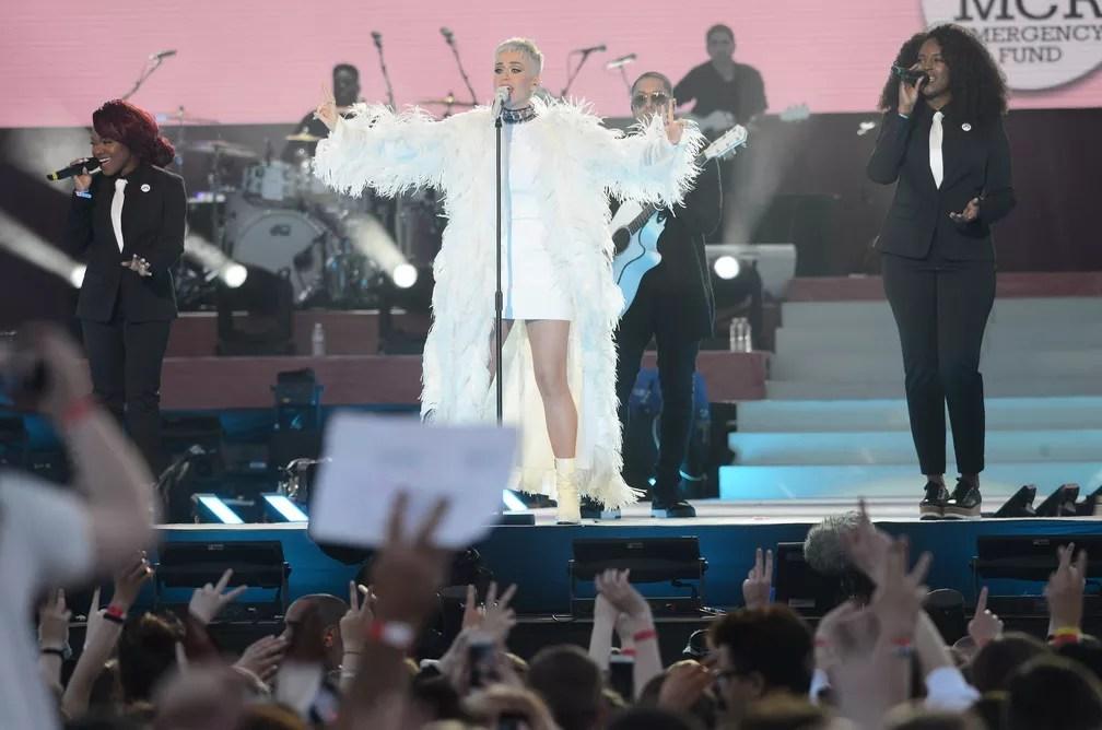 Katy Perry no One Love Manchester (Foto: Dave Hogan / Divulgação)