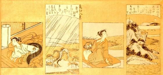 Obras retratam o estilo de vida denominado 'ukiyo', que significa 'mundo flutuante' (Foto: Raquel Silva/Divulgação)
