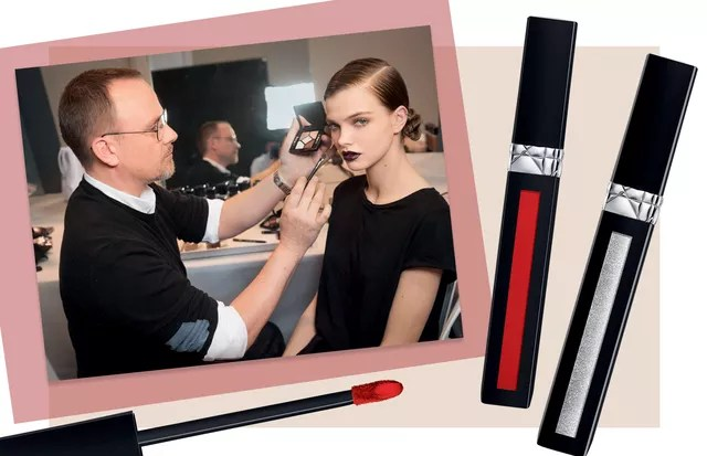 Peter Philips no backstage da Dior na semana de moda de Paris. Ao lado, Liquid Rouge (R$ 159) no icônico tom vermelho 999 e no prata Hologram (Foto: Charlotte Wales For Christian Dior Parfums, Thinkstock e Divulgação)