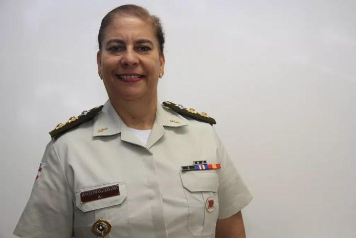 Ana Fernanda Dantas, 54 anos, é a primeira militar promovida a tenente-coronel na PM da Bahia — Foto: Jorge Cordeiro/Divulgação PM-BA