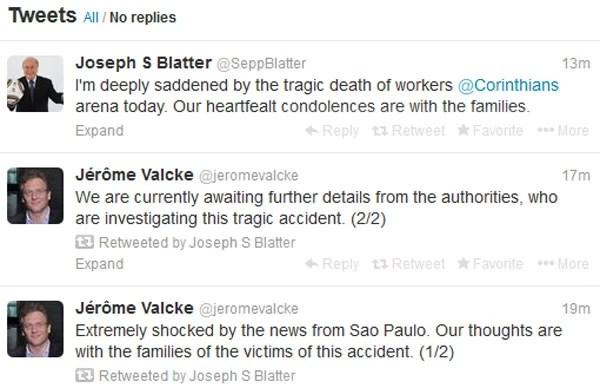 Presidente e secretário-geral da Fifa escreveram no Twitter lamentando as mortes no estádio do Corinthians (Foto: Reprodução/Twitter)