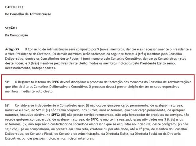 Estatuto diz que processo está disciplinado no regimento interno (Foto: Reprodução / www.saopaulofc.net)