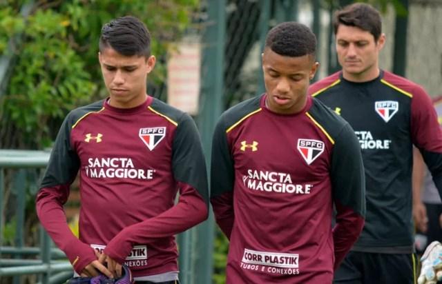 Luiz Araújo e David Neres São Paulo (Foto: Érico Leonan / saopaulofc.net)