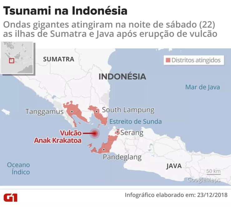 Tsunami atinge a Indonésia — Foto: Infografia: Igor Estrella/G1