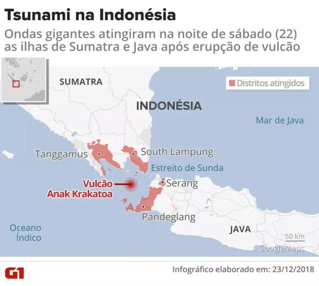 Tsunami atinge a Indonésia — Foto: Infografia: Igor Estrella / G1