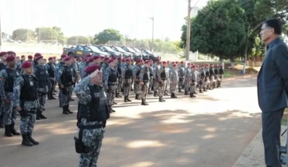 Forca Nacional se reúne antes do embarque para o Rio (Foto: Divulgação/Ministério da Justiça)