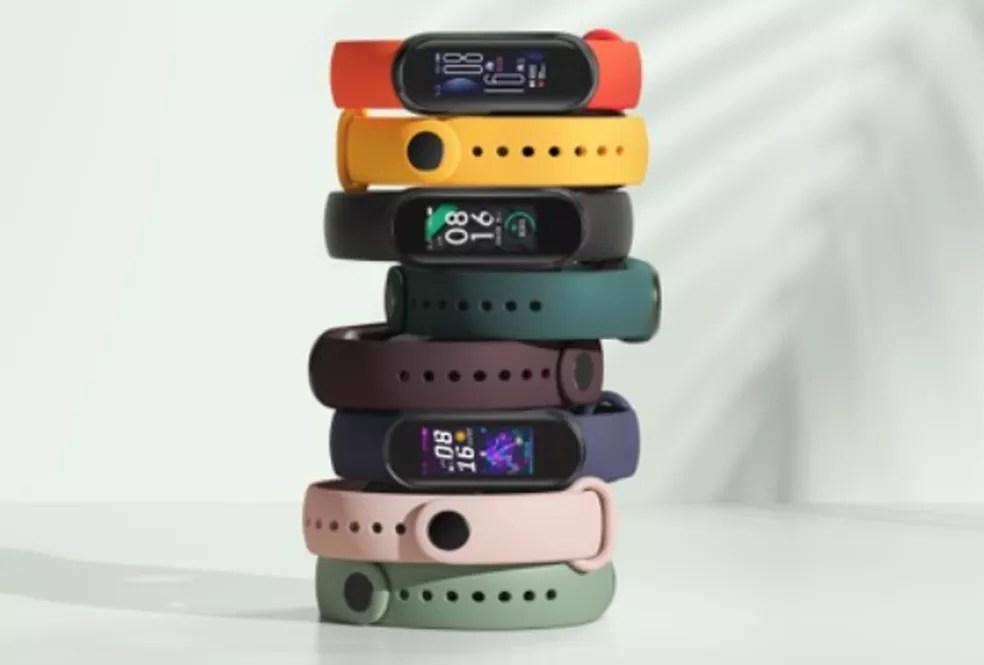 Mi Band 5 tem oito opções de cores — Foto: Divulgação/Xiaomi
